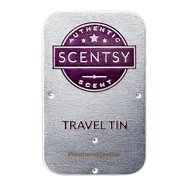 scentsy weathered leather tin
