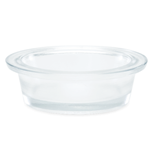 small clear glass dish