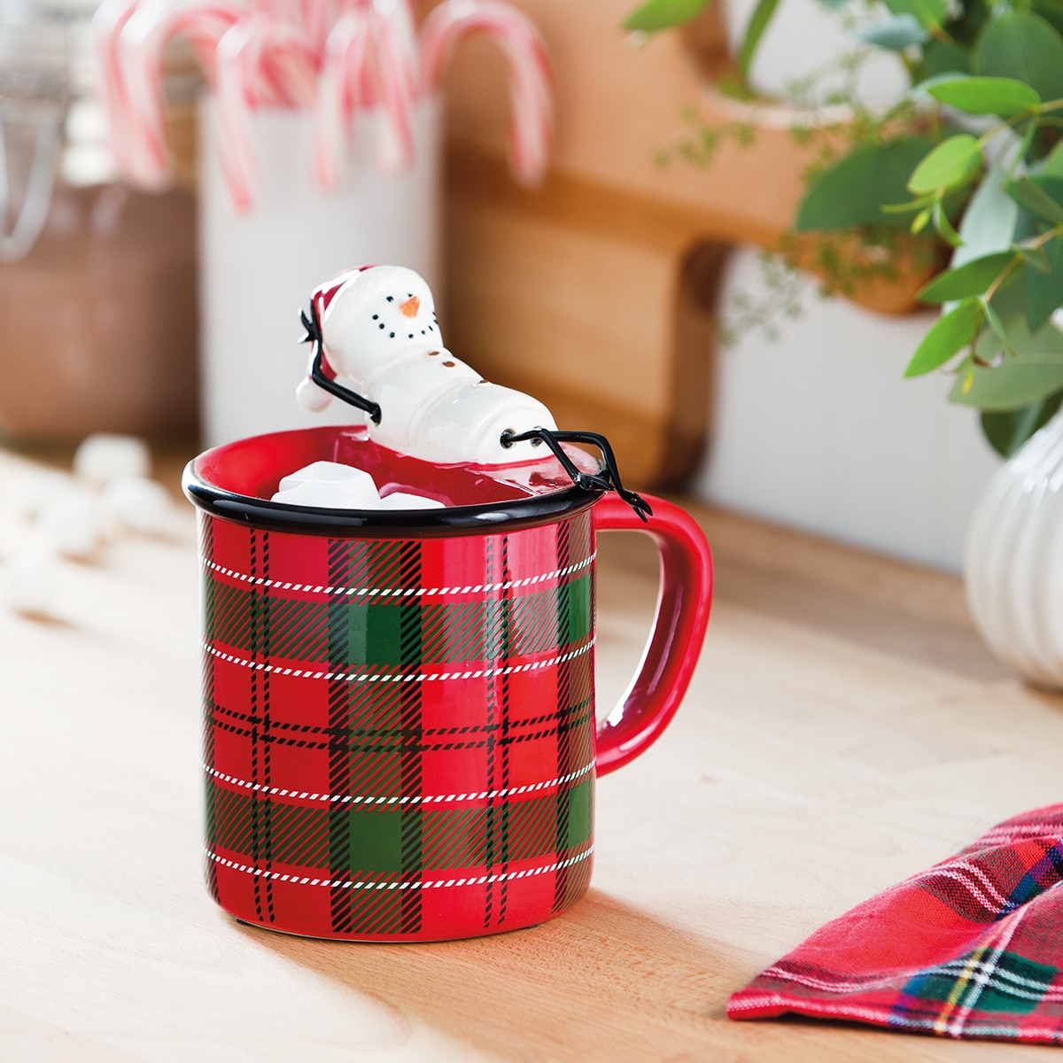 plaid mug snowman warmer